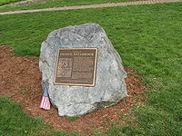 Prince Estabrook memorial in front of Buckman Tavern on Lexington Green in Lexington, Massachusetts. Prince Estabrook, who was wounded in the Battle of Lexington and Concord was the first Black casualty of the Revolutionary War.