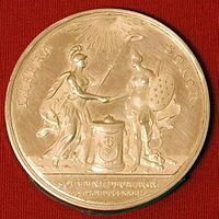 Coin minted for John Adams in 1782 to celebrate The Netherlands' recognition of the United States as an independent nation, one of three coins minted for him; all three are in the coin collection of the Teylers Museum