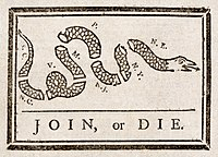 Join, or Die by Benjamin Franklin was recycled to encourage the former colonies to unite against British rule.
