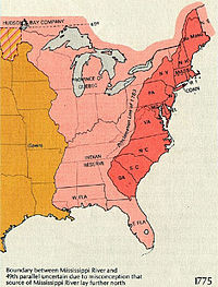 """Eastern North America in 1775. The British Province of Quebec, the Thirteen Colonies on the Atlantic coast, and the Indian Reserve as defined by the Royal Proclamation of 1763. The border between the red and pink areas represents the 1763 """"Proclamation line"""", while the orange area represents the Spanish claim."""