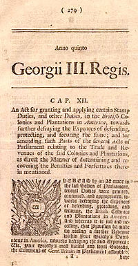 Notice of Stamp Act of 1765 in newspaper