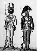 Continental soldiers at Yorktown. On the left, an African-American soldier of the 1st Rhode Island Regiment.
