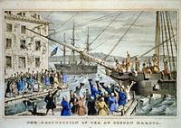 """This 1846 lithograph by Nathaniel Currier titled The Destruction of Tea at Boston Harbor; the phrase """"Boston Tea Party"""" had not yet become standard."""