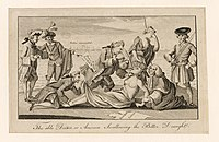 A 1774 etching from The London Magazine, copied by Paul Revere of Boston. Prime Minister Lord North, author of the Boston Port Act, forces the Intolerable Acts down the throat of America, whose arms are restrained by Lord Chief Justice Mansfield, while Lord Sandwich pins down her feet and peers up her robes. Behind them, Mother Britannia weeps helplessly, while France and Spain look on.