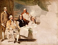 The United States delegation at the 1783 Treaty of Paris (John Jay, John Adams, Benjamin Franklin, Henry Laurens, and William Temple Franklin) are depicted in Benjamin West's 1783 painting American Commissioners of the Preliminary Peace Agreement with Great Britain. The British delegation refused to pose and the painting was never completed.