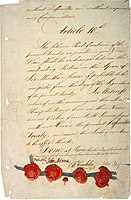 The last page of the 1783 Treaty of Paris, which ended the Revolutionary War