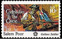 This postage stamp, which was created at the time of the bicentennial, honors Salem Poor, who was an enslaved African-American man who purchased his freedom, became a soldier, and rose to fame as a war hero during the Battle of Bunker Hill.