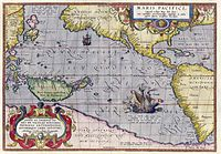 Maris Pacifici by Ortelius (1589). One of the first printed maps to show the Pacific Ocean
