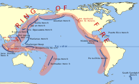 Ring of Fire. The Pacific is ringed by many volcanoes and oceanic trenches.