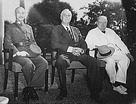 The Allied leaders of the Asian and Pacific Theaters: Generalissimo Chiang Kai-shek, Franklin D. Roosevelt, and Winston Churchill meeting at the Cairo Conference in 1943