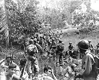 US Marines rest in the field during the Guadalcanal campaign in November 1942.