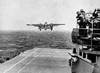 A B-25 bomber takes off from as part of the Doolittle Raid.