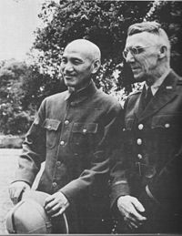 Generalissimo Chiang Kai-shek and General Joseph Stilwell, Allied Commander-in-Chief in the China theatre from 1942–1945