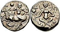 Coin of the King Shashanka, who created the first separate political entity in Bengal, called the Gauda Kingdom
