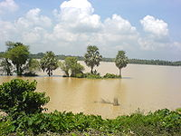 Many areas remain flooded during the heavy rains brought by a monsoon