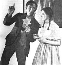 """""""A star—please, my dear—I must do something good."""" Liliom (Joseph Schildkraut) offers Louise (Evelyn Chard) the star he stole; 1921 Theatre Guild production"""