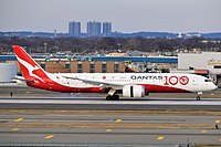 """With the 100th anniversary of Qantas' founding in late 2020, a new Boeing 787-9 was painted in a commemorative livery, with all of the historical logos of Qantas on the aft fuselage, as well the text """"Qantas time capsule to 2120."""""""
