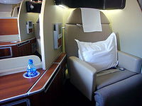 A Qantas first-class suite on the Airbus A380.
