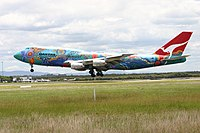 A Boeing {{not a typo 747-300}} in 2004 wearing the Nalanji Dreaming livery. The aircraft carried the colour scheme from 1995 to 2005.