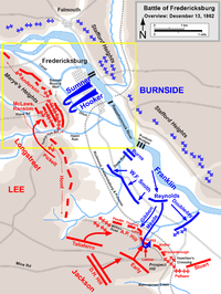 A map of the Battle of Fredericksburg