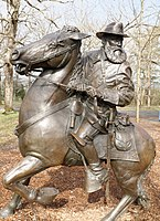 Equestrian statue of General Longstreet on his horse Hero in Pitzer Woods at Gettysburg National Military Park