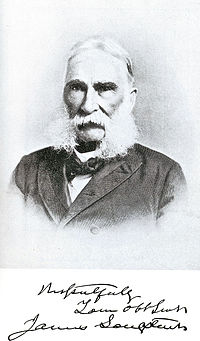 James Longstreet in later life (1896), affecting the sideburns of his opponent at Fredericksburg and Knoxville