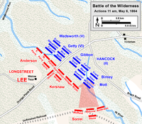 Longstreet's attack in the Battle of the Wilderness, May 6, 1864, shortly before he was wounded