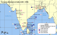 European settlements in India from 1501 to 1739.