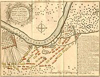 A plan of the Battle of Plassey, fought 23 June 1757 by Col. Robert Clive, against the Nawab of Bengal. Depiction of the battlefield, with explanations of troop movements.