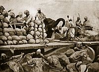 The Nawab's artillery on movable platform. A large stage, raised six feet from the ground, carrying besides the cannon, all the ammunition belonging to it, and the gunners themselves who managed the cannon, on the stage itself. These machines were drawn by 40 or 50 yoke of white oxen, of the largest size, bred in the country of Purnea; and behind each cannon walked an elephant, trained to assist at difficult tugs, by shoving with his forehead against the hinder part of the carriage.