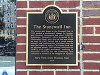 Plaque commemorating the Stonewall Riots