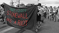 """Banner reading """"Stonewall was a riot"""" pictured during Berlin Pride, 2009"""