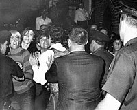 """This photograph appeared in the front page of The New York Daily News on Sunday, June 29, 1969, showing the """"street kids"""" who were the first to fight with the police."""