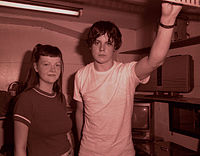 White Stripes in the back room of Club Shinjuku Jam, Tokyo, to an audience of 10–20 people, in their first Japanese tour.