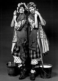 Burnett, in her well-known charwoman character, gets a hand from guest star Rita Hayworth in 1971.