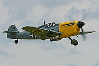 Hispano Buchon masquerading as a Bf 109E, wearing a temporary paint scheme for the film