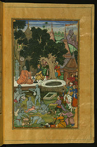 Babur, the founder of the Mughal Empire, and his warriors visiting a Hindu temple in the Indian subcontinent.