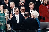 Chief Justice William Rehnquist administering the oath of office to President Bush during Inaugural ceremonies at the United States Capitol, January 20, 1989.