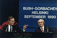 Bush and Mikhail Gorbachev at the Helsinki Summit in 1990