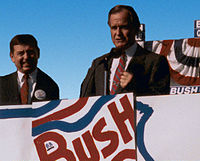 Vice President Bush campaigns in St. Louis, Missouri, with John Ashcroft, 1988
