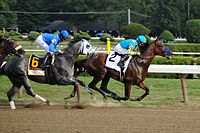 American Pharoah led Frosted for much of the run in the Travers Stakes.