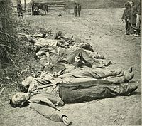Confederate dead of General Ewell's Corps who attacked the Union lines on May 19 lined up for burial at the Alsop Farm.