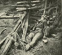 This unidentified, dead Confederate soldier of Ewell's Corps was killed during their attack at Alsop's farm. He was wounded in both the right knee and left shoulder, and probably died from loss of blood.