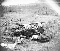 Confederate killed in Ewell's attack May 19, 1864, on the Alsop farm. This photograph was taken just to the right and in front of the preceding photograph.
