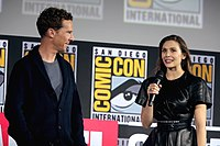 Cumberbatch and Olsen announcing the film at the 2019 San Diego Comic-Con