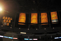 Championship banners, Lakers retired jerseys, and honored Minneapolis Lakers banner hanging in the rafters of Staples Center in 2010