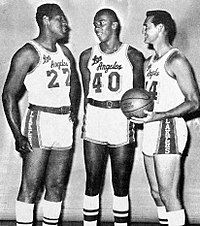 """Elgin Baylor (left) and Jerry West (right) led the team to a total of ten NBA Finals appearances in the 1960s and 1970s. Nicknamed """"Mr. Clutch"""", West's silhouette is featured on the NBA's official logo."""
