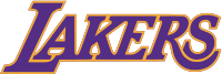 The Lakers current wordmark, used since the 1999–2000 season. The version shown is used on their Sunday home alternate jerseys.