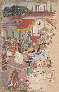 The emperor Jahangir investing a courtier with a robe of honour, watched by Sir Thomas Roe, English ambassador to the court of Jahangir at Agra from 1615 to 1618, and others