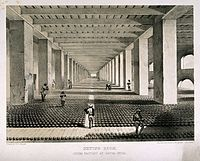 An opium factory in Patna, India from c. 1850.
